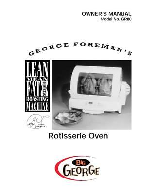 - George Foreman GR80 Owners Manual Instructions User Guide Reprint Recipes