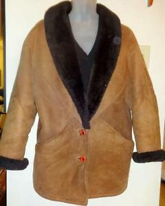 "Womens Warm Sheepskin Shearling Jacket Coat Oakville Made in Canada ROOMY Fits M L 38 40"" bust brown/ WARM 10 12 14"
