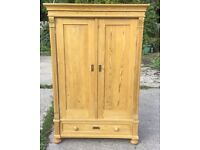 ANTIQUE VICTORIAN PINE DOUBLE WARDROBE