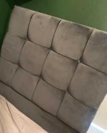 Single bed grey velvet headboard & divan base with storage