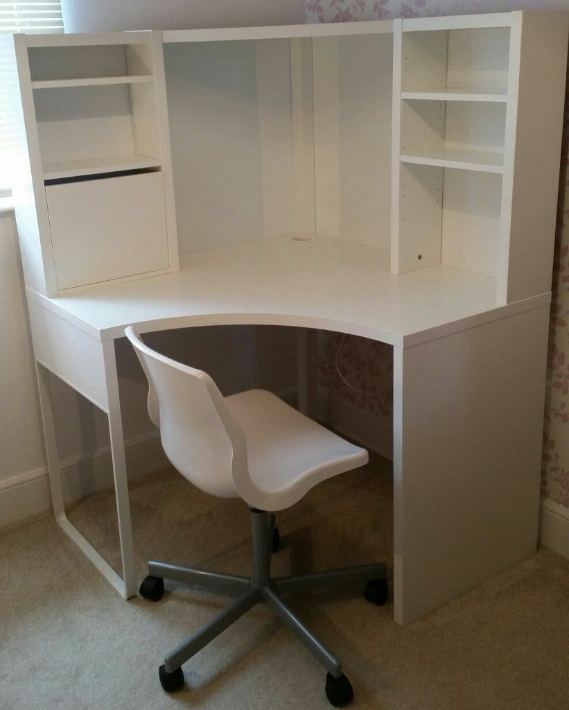 Ikea micke corner workstation white and ikea snille swivel chair white in melrose - White desk chairs ikea ...