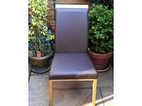 FOUR *Marks & Spencer* Italian Leather High Back DINING CHAIRS Excellent Condition