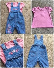 💕 Baby girl 💕 Outfit / set. Lovely long dungarees and a short sleeve top George 0-3 months
