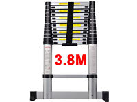 *NEW * 3.8m ALUMINIUM MULTI PURPOSE TELESCOPIC EXTENDABLE LADDER + STABILIZER BAR EN-131 HOME WORK