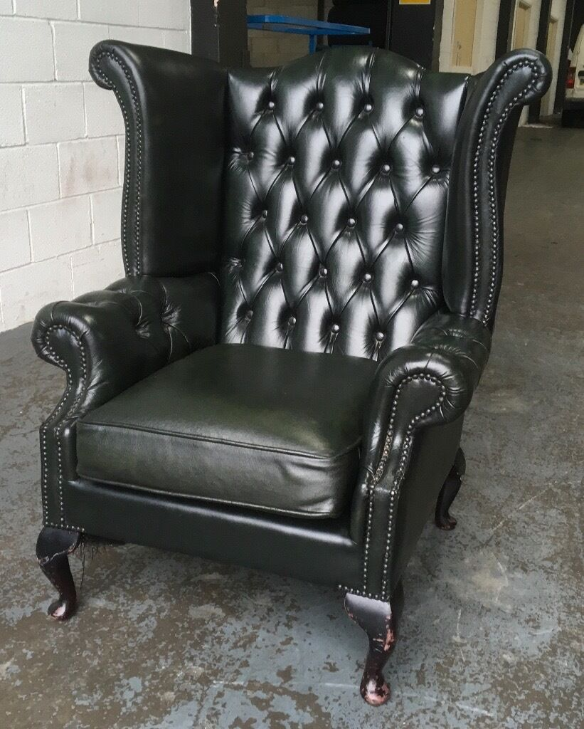 Green leather Chesterfield Wingback chair WE DELIVER UK WIDE