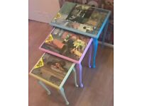 Upcycled Nest of Tables hand painted and inlaid tops with images from the impressionists, varnished.