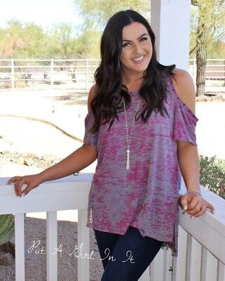 Plus Size Angel (VOCAL PLUS SIZE CRYSTAL PINK BLACK ANGEL WING COLD SHOULDER TUNIC SHIRT 1X 2X)