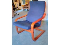 Poang armchair Ikea : dark blue with mahogany colour wooden frame