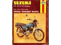 HAYNES SUZUKI GP 100 & 125 SINGLES WORKSHOP MANUAL 1978 - 1982