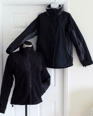 COLUMBIA 3-IN-1 Bugaboo Interchange Gray/Black Soft Shell+Fleece Winter Parka~M Bugaboo Gray Fleece