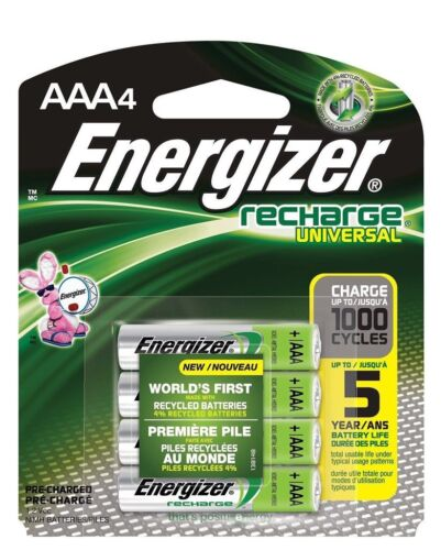 4/pack AAA Energizer Rechargeable NiMH Batteries AAA4 Rechar
