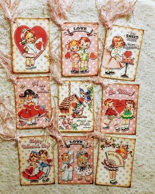 Set of 9 Hang Tags~Vintage Valentine Kids~Gift Tags~Scrapbooks~Card Crafts~#14R