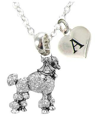 Toy Poodle Dog - Custom Poodle Dog Silver Necklace Jewelry Choose Initial or Family Toy Miniature