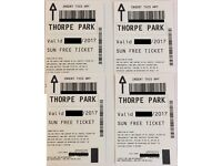 **SATURDAY** 4x Tickets to THORPE PARK for 26th August 2017 (26/08/2017) ACTUAL TICKETS!!!