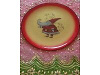 *New Large Christmas 'Santa Claus' Glass Plate /Glassware decoration: Italian Gold & Red: Christmas