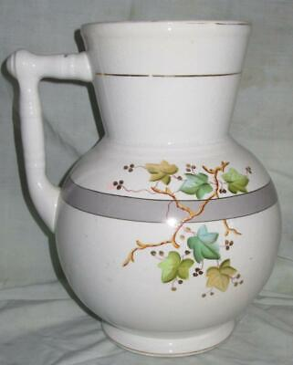 Victorian Coxon & Co. American Ironstone Pitcher, Leaf Decorations, Late 1800s