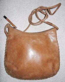Ri2K Tan Distressed Leather CROSS BODY Bag