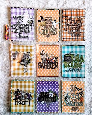 Set of 9 Cards~Halloween Spirit~Pocket Pen Pal Letter Kit~& Protector~#131N - Letter N Halloween