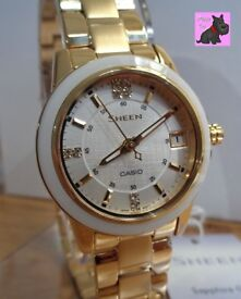 Casio SHE-4512G-7AUER Ladies 'Sheen' Gold Plated / Swarovski Crytals - NEW - RRP: £180 *On Offer!*