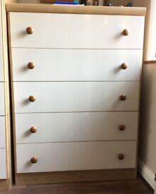 Cream Chest of drawers, 5 drawers