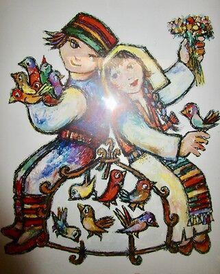 Jovan OBican (1918-1986) Ltd. Edition 741/1000 Lithograph Girl Boy & Birdcage
