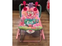 Fisher Price Baby bouncer pink chair, infant to toddler rocker