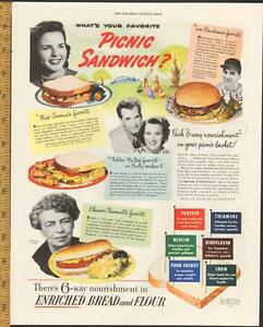 1947 color magazine ad for Enriched Bread with Eleanor Roosevelt