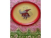 NEW Santa Claus Glass Plate Large Tableware Glassware Decoration Italian Gold Red Designer CHRISTMAS