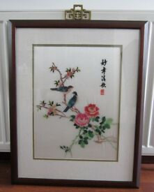 Antique Chinese Silk Picture in Mahogany Frame