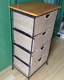 Rattan Four Drawer Storage Unit. PRICE REDUCED