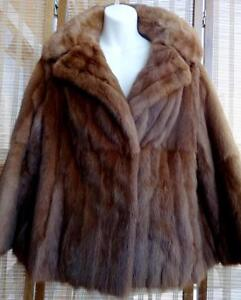 Fine Mahogany Mink Fur Jacket Coat 12 - 14P Made in Canada Vintage Free Scarf and Belt Petite Brown