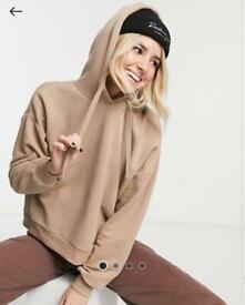 Brown hoodie.