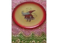*New Large Christmas 'Santa Claus' Glass Plate: Tableware/Decoration: Italian Gold & Red: Collectors
