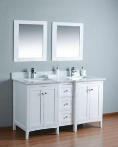 "60"" White Vanity w/ marble top & Dovetail drawers"