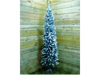 6.5ft (2m Approx) Flocked Spruce Pine Pencil Christmas Tree