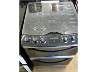 Ex display 55cm Zanussi ZCG43200XA Gas Double Oven.One year guarantee black and silver