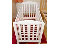 White Mothercare fixed side cot