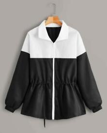 Drawstring Front Windbreaker Jacket