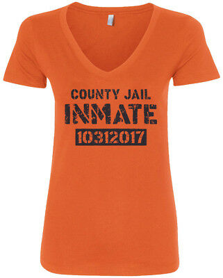 County Jail Inmate 2017 Halloween Costume Women's V-Neck T-Shirt