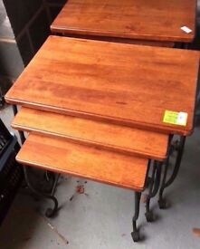 3 SOLID HARD WOOD AND IRON TABLES IN VERY GOOD CONDITION FREE LOCAL DELIVERY 07486933766