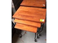 CAST IRON AND HARD WOOD NEST OF 3 TABLES IN VERY GOOD USED CONDITION FREE LOCAL SAME DAY DELIVERY