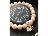 Brand New Thomas Sabo Charm Pearl Bracelet with I Love You charm