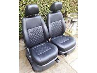 VW CADDY BLACK FULL LEATHER FRONT SEATS + BENTLEY STITCH new T5 kitcar