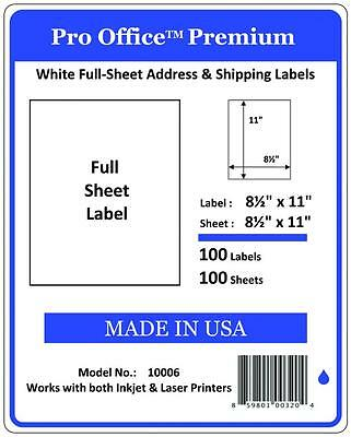 100 Full Sheet Shipping Labels Pro Office Premium 8.5 X 11 Self Adhesive Blank