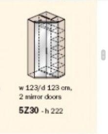 Oak Corner Wardrobe 2 door mirror with hanging space and shelves
