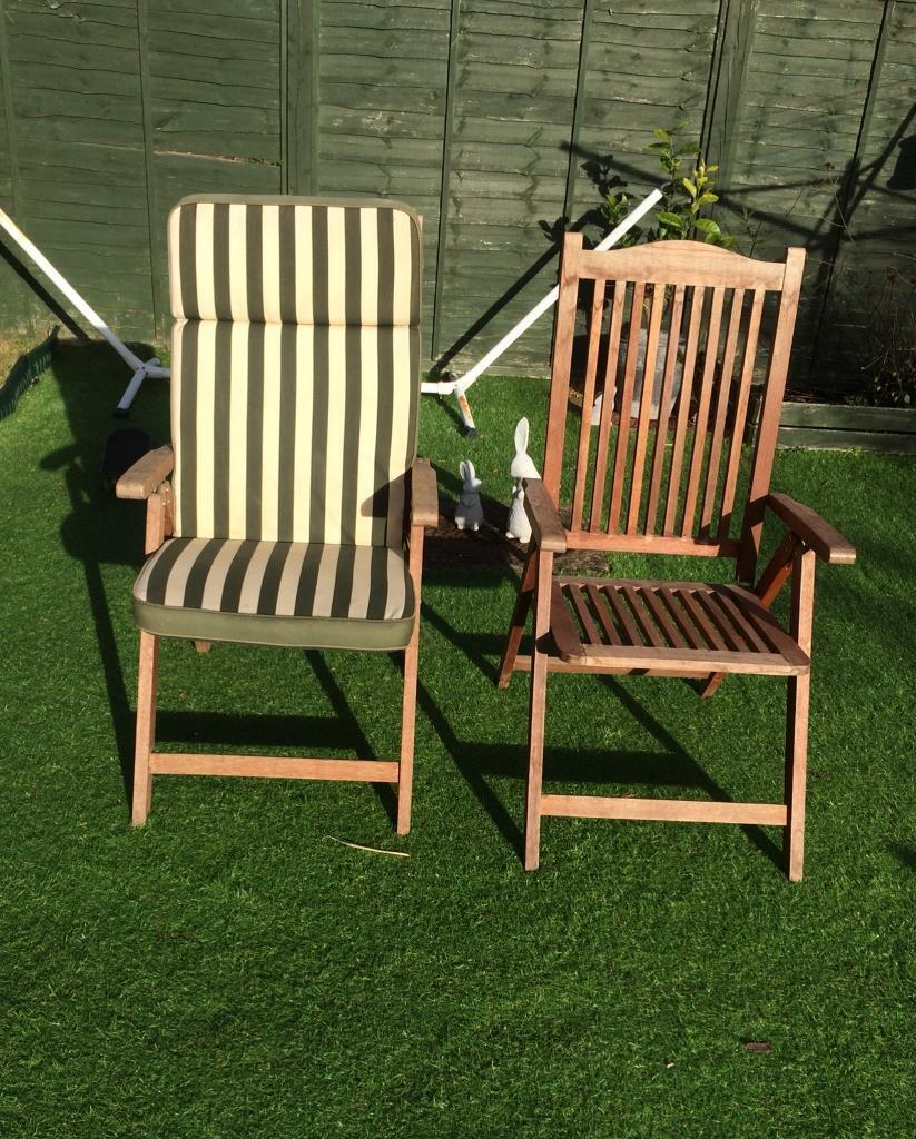 X6 Set Of Hard Wood Reclining Patio Chairs In Hethersett Norfolk