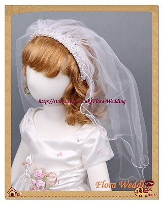 White Girl First Holy Communion Veil with Pearls on Satin Alice Headband,23