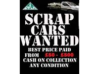 SCRAP CARS WANTED BEST PRICES PAID