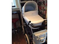 White leather 3 in 1 babystyle pram