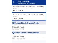 Ryanair Flight Tickets (Return) from London Stansted to Venice
